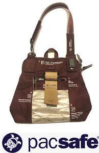 New NWT Pacsafe Citysafe Burgundy Mini Small Hand Bag Insert? Anti Theft Wire