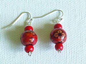 3 Bead red wooden earrings