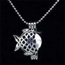 "KK19 Perfume Ocean Fish Locket Necklace - Pearl Cage - Beads Chain 16"""