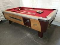 7' DYNAMO LIGHT OAK COIN-OP POOL TABLE WITH RED CLOTH ALSO AVAIL IN 6 1/2', 8'
