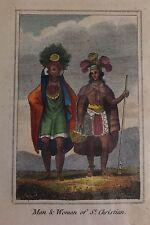 SAINT CHRISTIAN, habitantes, aguafuerte original, primera mitad siglo XIX