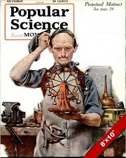 NORMAN ROCKWELL POPULAR SCIENCE COVER ARTOIL PAINTING PRINT ON REAL CANVAS