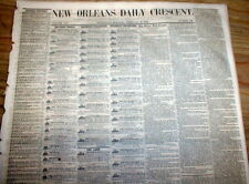 1856 New Orleans Crescent pre Civil War LOUISIANA newspaper wFP illustr SLAVE AD
