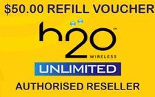 USA H20 SIM CARD TOPUP CREDIT REFILL $50 FREE UK CALLS TO LAND LINES 30 DAY PLAN