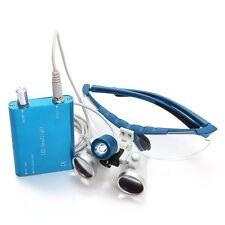 Blue LED Head light lamp+Dental Binocular Loupes 3.5X420 Optical Glass Loupe-USA