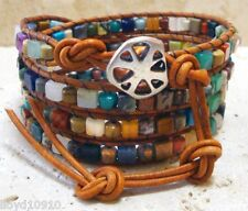 Mixed Gemstone 4x4mm Cubes & 4.5mm Drums Handmade Beaded Leather Wrap Bracelet