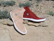 KAIBAB STYLE WOMEN's Red/Sand NAVAJO 1 BUTTON MOCCASINS / EARTHING SHOES