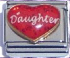 Italian Charm Red Heart Love Daughter Girl Family Glitter