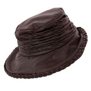 LADIES WAX HAT WAXED COUNTRY RAIN SHOWERPROOF HAT OLIVE BROWN SIZE 57CM