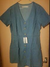 Asos Design Denim Tea Dress With Mick Horn Buttons.size 16.