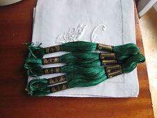 mercerie ancienne 5 échevettes coton à broder DMC mouliné vert 909 point de croi