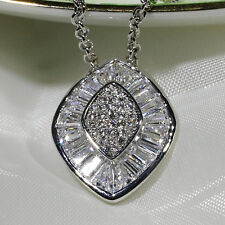 18K White Gold Filled CZ Lady Women Fashion Jewelry Gift Necklace Pendant P2670