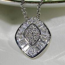 18K White Gold Filled CZ Lady Women Fashion Jewelry Gift Necklace Pendant P2670