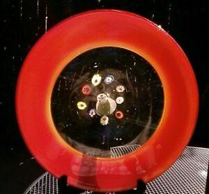 "Unusual Art Glass Millefiori Flat Bowl / Centerpiece Plate Red Border 14""1/2"