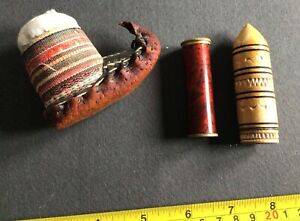 Selection of vintage sewing items, pincushion, 2 needle cases. Mitrailleuse tin