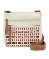 Fossil Corey Large Crossbody Bag Leather Vanilla/Luggage Brown MSRP $178