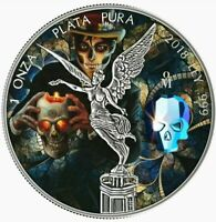 """2018 Mexico Libertad """"CRYSTAL SKULL DAY OF THE DEAD"""" Colorized 1oz .999 Silver"""