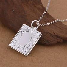 *uk* 925 Silver Plt Open Novel Book Photo Picture Locket Pendant Necklace Ladies