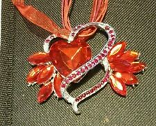RED HEART & FLOWER NECKLACE, CHRISTMAS, BIRTHDAY, AND MORE