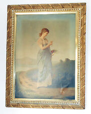 "RARE Large 1870 Colton Zahm & Roberts  Chromo on Canvas ""He Loves Me a Little"""