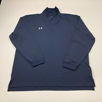 Under Armour Heat Gear Loose XL Blue Mens Golf Long Sleeve Button Polo Shirt