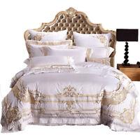 6pcs. Bedding Set Luxury Cotton Embroidery Duvet Set Bed Sheet Deco pillowcases