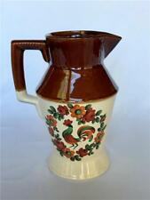 Vintage Country Rooster Stoneware Pitcher Brown & Ivory Made in Vermont Usa