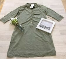 Next Sz 12 Petite NEW Green Pigment Dyed Shirt Dress With Pockets 3/4 Slv