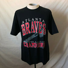 Vintage 90's Atlanta Braves Western Division Champs T-Shirt Large Black NWT DS