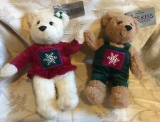 Hallmark Kiss Kiss Mistletoe Plush Christmas Bears plush snowflake Magnetic 10""