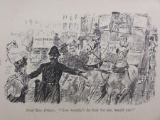 London Cab, Tram, Bus & Omnibus IRATE BUS DRIVER TO POLICE Antique Punch Cartoon