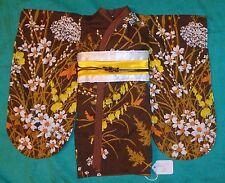 Brown Floral Kimono Brown Trim White & Yellow Obi for American Girl Doll AGCS09