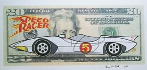"""Hobo Dollar Art - """"Speed Racer"""" Limited Number Print 11 by 6 ."""