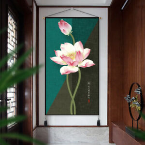 Chinese Lotus Printing Scroll Wall Art Hanging Tapestry Home Decor Fengshui Chic