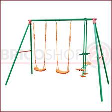 Altalena Acciaio 4 Posti Seggiolino Cavalluccio per Bambini da Giardino Esterno