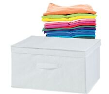 H & L Russel White Fabric Folding Storage Box With Lid Medium [6907]