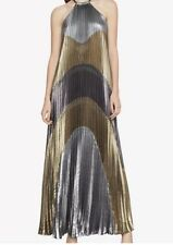 bcbg maxazria Metallic Colorblocked Pleated Gown Large