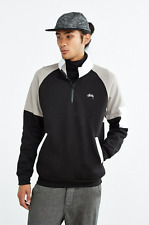 NEW STUSSY MEN'S BLACK HALF ZIP FUNNEL NECK SWEATSHIRT MEN'S SIZE LARGE