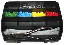 Plombenzange mit 500 Plomben u. 500 Stück Plombendraht in praktischer Sortierbox
