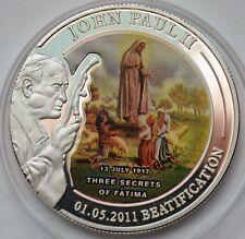 Palau 1 dollar, John Paul II Sainthood, Fatima Miracle, Colored Coin
