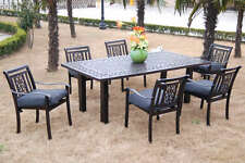 CBM Patio Furniture Cast Aluminum 7 Piece Outdoor Dining Set A