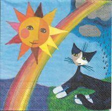 2 Serviettes papier Soleil & Pluie Chat Rosina Wachtmeister Paper Napkins Cat