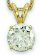 1.00CTW Forever Brilliant Moissanite Round Pendant 14K Yellow Gold