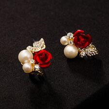 New Fashion Women Rose Flower Crystal Imitation Pearl Ear Stud Earrings Jewelry