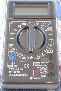 Toolzone Digital Multimeter - Voltmeter Ammeter OHM AC DC Circuit Checker Tester