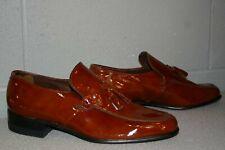 8 D Mens Brown Patent VTG 1970s Roblee Tassle Loafer USA SlipOn Dress Shoe 70s