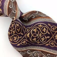 STAFFORD TIE Floral Brocade PURPLE Brown ART DECO Silk Necktie Ties I7-218