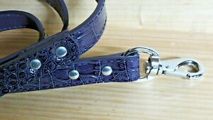 Happy Paw,Dog NEW!Purple4' Leash Embossed Medium dog Steel hardware Leather