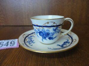 c.1901 Antique Royal Crown Derby Coffee Cup & Saucer - Blue Flower & Gilt