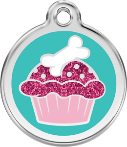 """Red Dingo """"Cupcake"""" Glitter Engraved Pet Dog & Cat ID Tag - Free Engraving"""